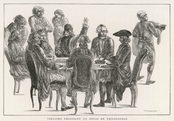 FRANCOIS-MARIE AROUET known as Voltaire Dining with a group of friends including Diderot, D'Alembert and Condorcet
