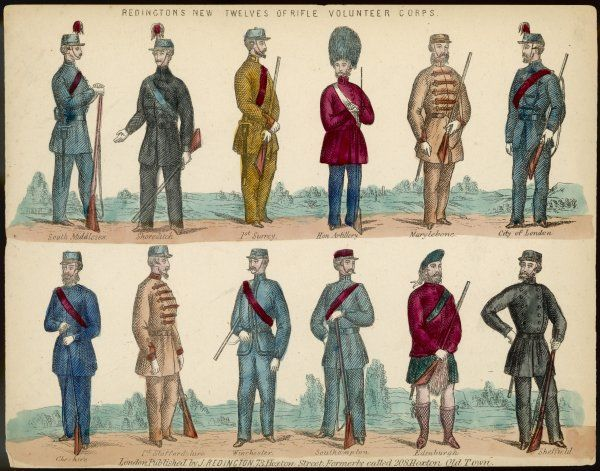 RIFLE VOLUNTEER CORPS from 12 towns, districts or counties showing the range of uniform styles: Shoreditch, Edinburgh, Sheffield, Staffordshire, Winchester, Hon. Artillery