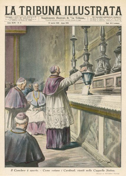 Cardinals, sitting in Conclave in the Sistine Chapel, in the Vatican, Rome, vote for a new pope : they elect Pius XII