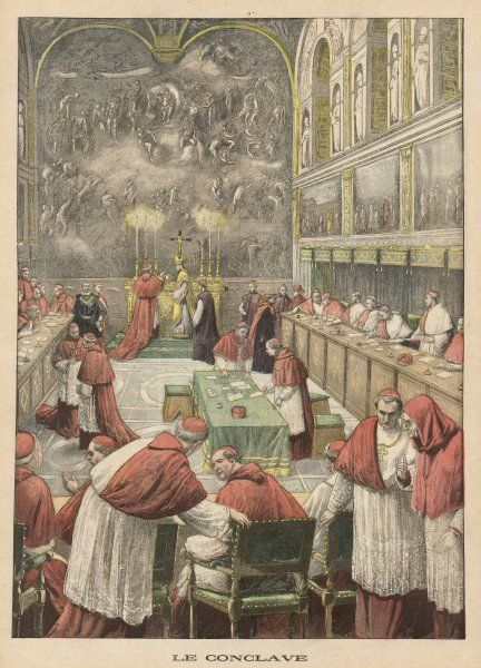 Cardinals, sitting in Conclave in the Sistine Chapel, in the Vatican, Rome, vote for a new pope : they elect Pius X