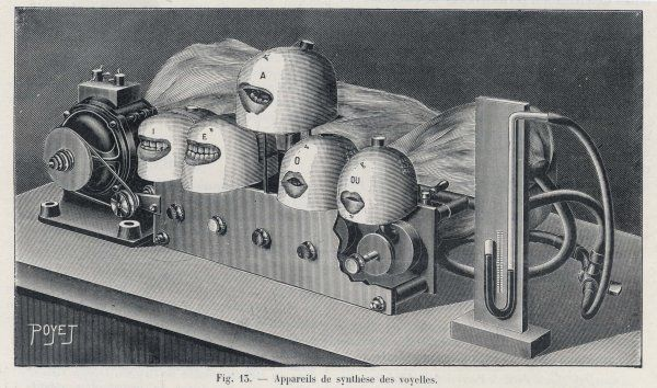 Marage's machine to simulate the sounds and mouth shapes created by saying the five vowels
