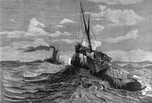 Engraving showing the obelisk ship 'Cleopatra' (nearest) and its tug, in the background, crossing the Bay of Biscay on passage from Egypt to London, 1878. The obelisk ship was a specially constructed vessel carrying 'Cleopatra's Needle&#39