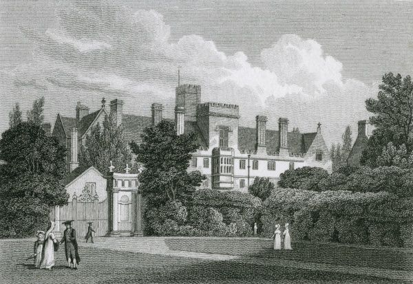 Wadham College, Oxford, viewed from Trinity College garden. Date: 1821