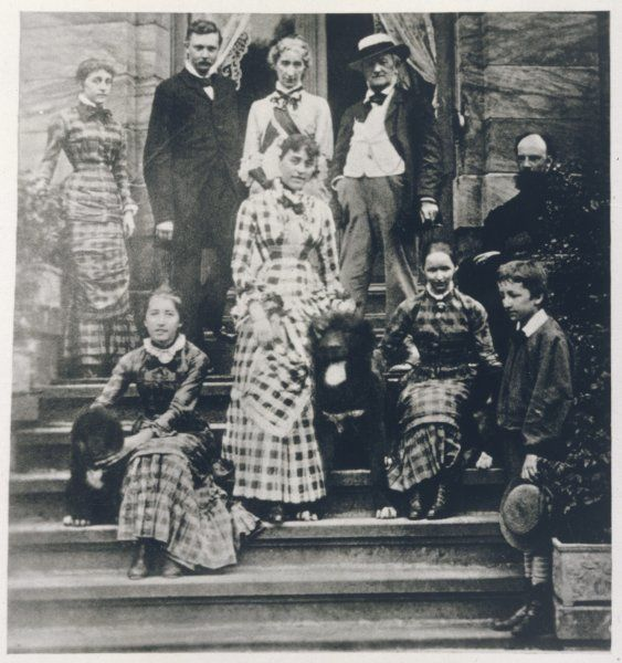 RICHARD WAGNER German composer with his family at home (Wahnfried) in Bayreuth in 1881