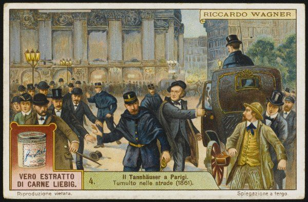 RICHARD WAGNER German composer in 1861, as his opera Tannhauser causes riots in the streets of Paris