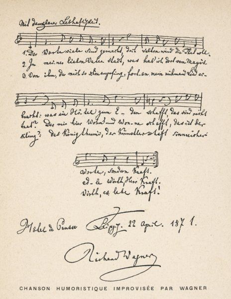 Score for a humorous song, dedicated to Louis Kraft, proprietor of the Hotel Prusse at Leipzig, in gratitude for an enjoyable stay