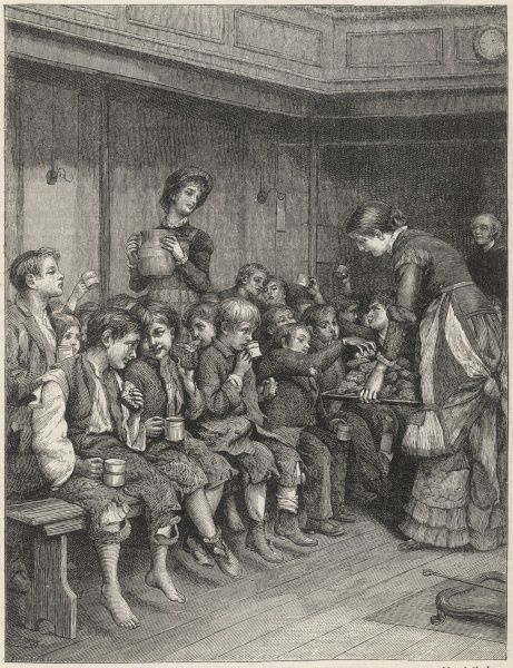 Ragged English waifs and strays, some with no shoes to their feet, are fed with soup and buns. Date: 1885