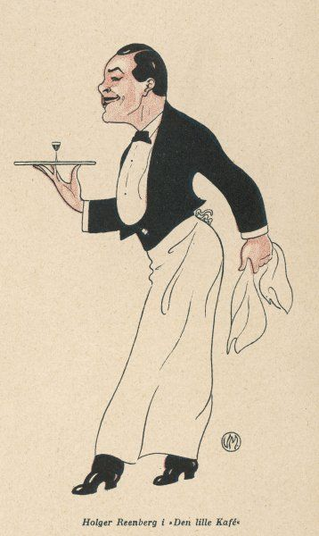 A waiter carries a tray with one small glass on it