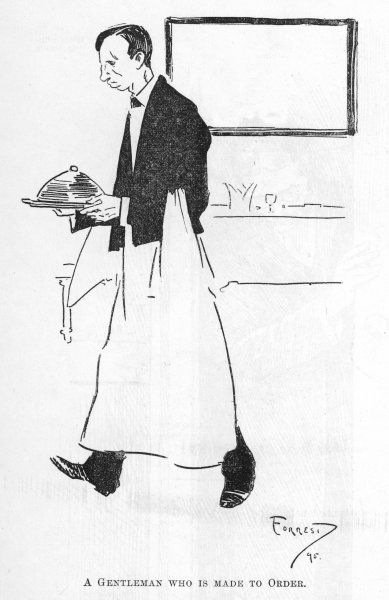 A waiter carries a covered dish