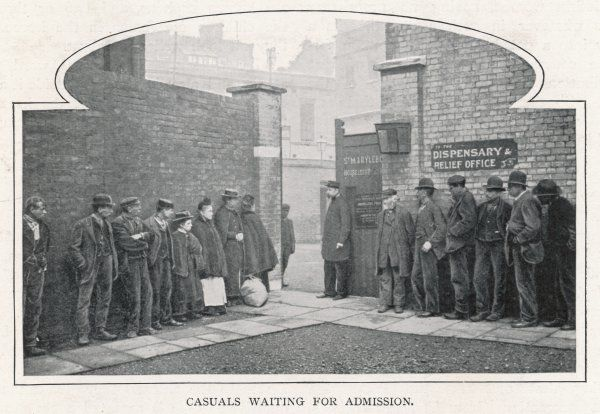 Waiting for admission to Marylebone Casual Ward, for a night's lodging