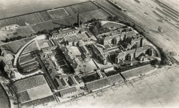 Aerial view of the Wakefield Union workhouse, designed by J.E. Oates and erected in 1851 on Park Lodge Lane, Wakefield, West Yorkshire. The site later became known as Stanley View and then as Wakefield County Hospital