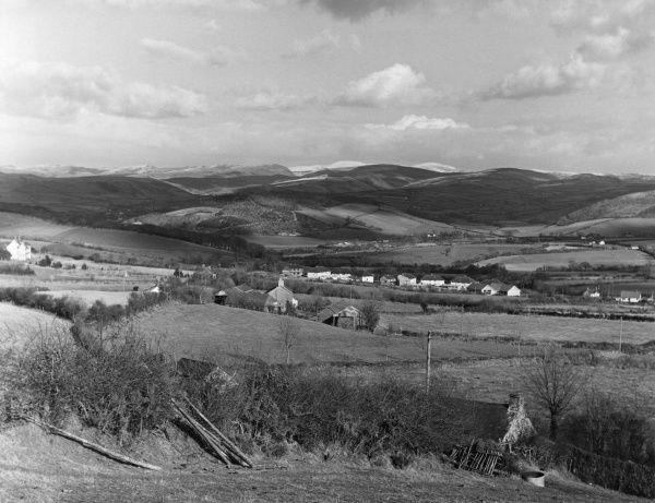 A late winter landscape overlooking Commins Coch, a valley near Aberystwyth, Cardiganshire, Wales. Date: 1960s