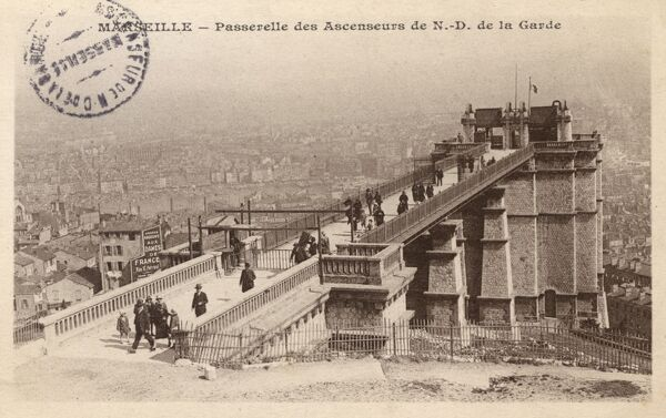 Marseille, France - The walkway leading from the 'Ascenseurs' (lifts) leading up to the Notre-Dame de la Garde basilica