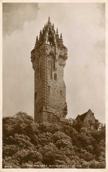 The Wallace Monument, on the summit of Abbey Craig, Stirling, Scotland - designed by architect John Thomas Rochead. Date: circa 1920s