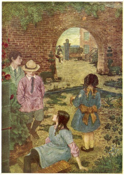 Edwardian children scheme in the quiet tranquility of the walled garden of a big red brick country house. A doctor with his gladstone bag is seen leaving through the archway
