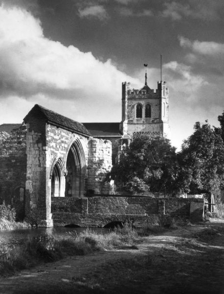 Waltham Abbey Church, founded in the 11th century and bequeathed by Edward the Confessor to King Harold. The church was restored in the 19th century. Date: 11th century