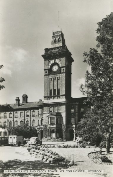 Walton Hospital, Rice Lane, Walton on the Hill, Liverpool. The central clock tower concealed a large water storage tank. The building was designed by William Culshaw, and originally opened in 1869 as a workhouse for the West Derby Union
