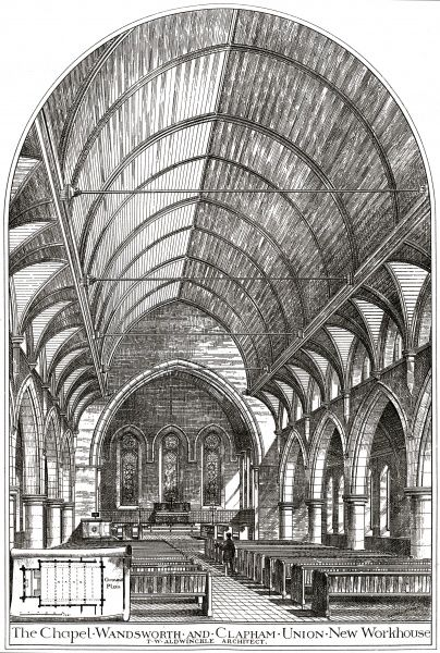 Architect's drawing of the interior of the chapel at the Wandsworth & Clapham Union's new workhouse on Garratt Lane, Wandsworth. The building, erected in 1886, was designed by T.W. Aldwinckle. Date: 1886