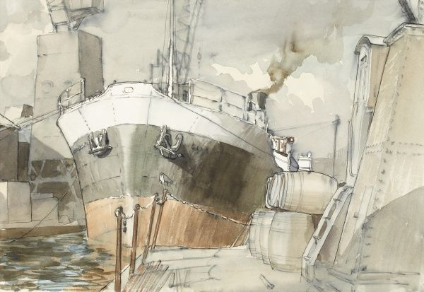 A large steamship moored against the quay at Wapping Docks. Pen & ink drawing (with watercolour wash) by Raymond Sheppard