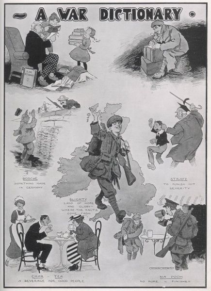 A number of new war-influenced expressions in one cartoon including the strafe (punish) and blighty (Britain), during First World War