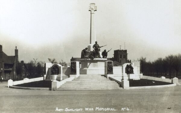 War Memorial at Port Sunlight - engraved on the plinth are the names of Lever Brothers' employees who lost their lives in the two world wars. Date: circa 1927