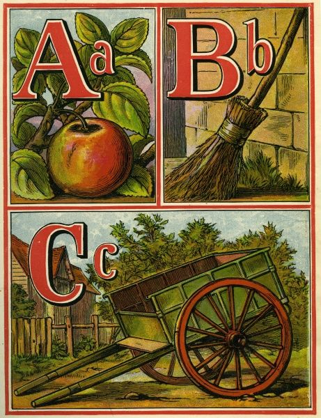 Page from a Victorian alphabet showing A for apple, B for broom and C for cart
