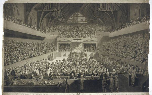 WARREN HASTINGS English colonial administrator in India impeached in 1788 for corruption stands before the Court of Peers in Westminster Hall. A lady spectator faints!