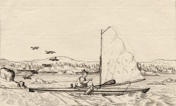 Warrington Baden-Powell catching fish in his canoe. Date: circa 1860s
