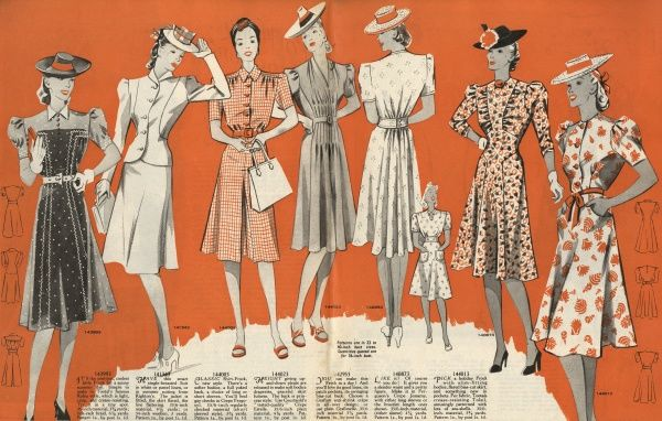 A variety of smart dresses available as sewing patterns from Weldon's. Date: 1940