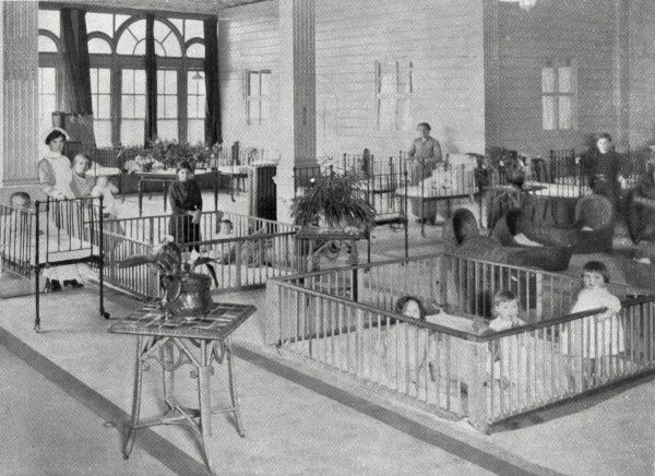 A nursery for the children of refugees set up by the Metropolitan Asylums Board at Earl's Court during the First World War