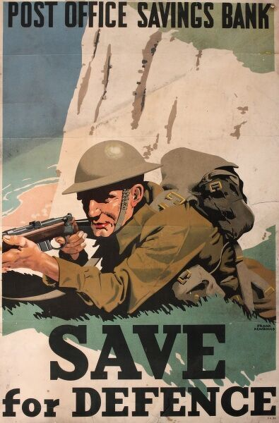 Wartime poster advertising Post Office Savings Bank, encouraging people to Save for Defence during the Second World War.  1940s