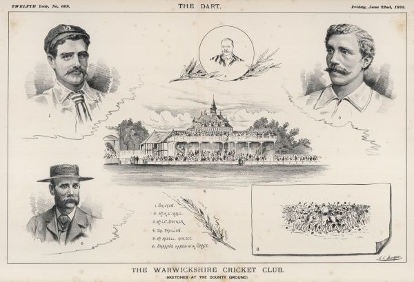 Sketches at the County Ground, Edgbaston, Birmingham - the home of Warwickshire CC. The main pavilion is shown in the centre, surrounded by notable players for the county and a scene showing the crowd 'shaking hands' with the great W G Grace