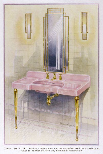 An elegant pink washbasin by Dent & Hellyer in an art deco bathroom