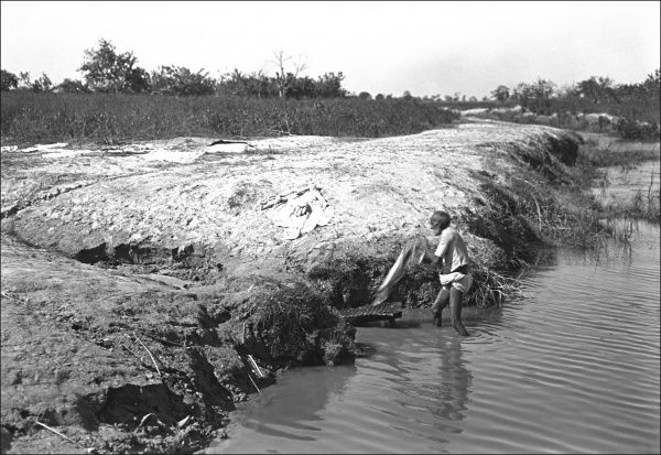 An Indian man does his laundry in a river. Photograph by Ralph Ponsonby Watts