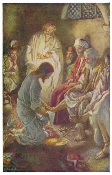He washes his disciples' feet