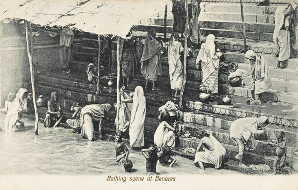 Washing in the sacred River Ganges, which runs through the Indian city of Benares