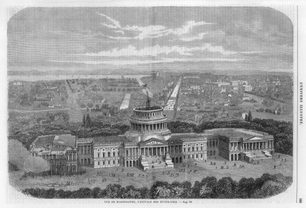 Washington DC: the unfinished Capitol, before the great dome was added