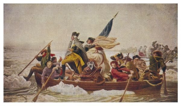 Washington and his army cross the half frozen Delaware River, prior to the battle of Trenton