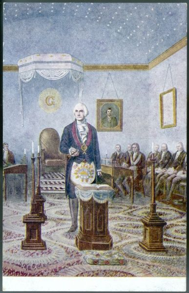 George Washington, President of the USA, presides at the altar of his Lodge while planning the laying of the corner stone of the Capitol Building, Washington