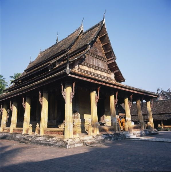 Wat Si Saket (or Sisaketh), a Buddhist temple in Vientiane, Laos. Built in 1818 in Siamese style, it is probably the oldest temple still standing in Vientiane