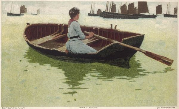 A young woman takes a rest from rowing to look out to the fishing boats sailing upon a calm sea