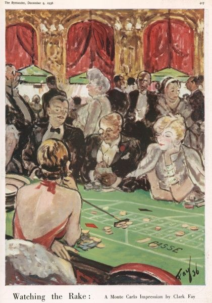 An impression of the casino at Monte Carlo by Clark Fay. Glamorous socialites playing at the roulette table