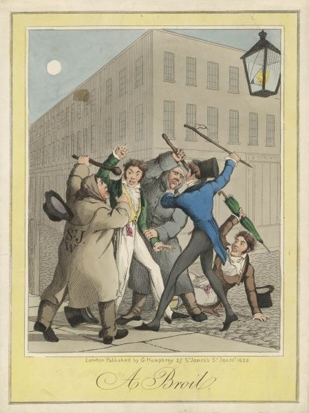 Three young London men-about- town get into trouble with the law, and defend themselves against two watchmen (seven years later they will be replaced by 'peelers')