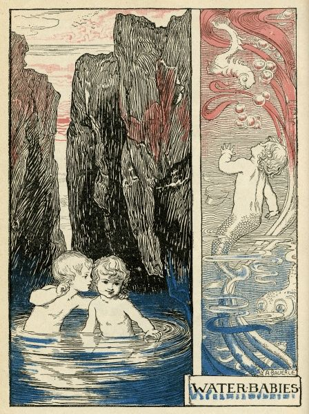 Water Babies -- two little children, a boy and a girl, in a pool of water surrounded by rocks (left), and a little boy who has turned into a merman, with a fish's tail, underwater with the fishes (right)