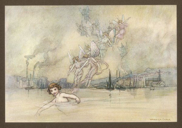 Tom swims in the river accompanied by fairies, 'past the great town with its wharfs, mills & tall smoking chimneys&#39