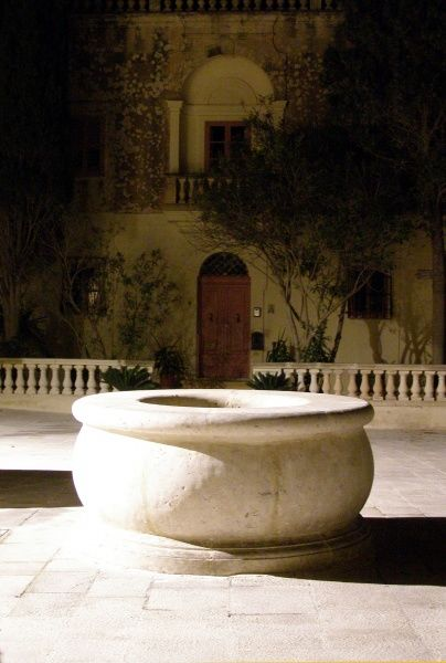 Courtyard with water cistern, Mdina (the slilent city), Malta, by night