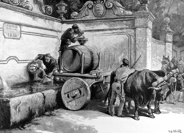 Engraving showing three men filling their water barrel at a fountain in Sintra, near Lisbon, Portugal, 1883