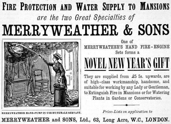 An advertisement from 1893 for Marryweathers hand fire-engines, a device which doubles up as both a fire extinguisher and plant watering machine. The illustration shows a maid extinguishing flames billowing from parlour curtains