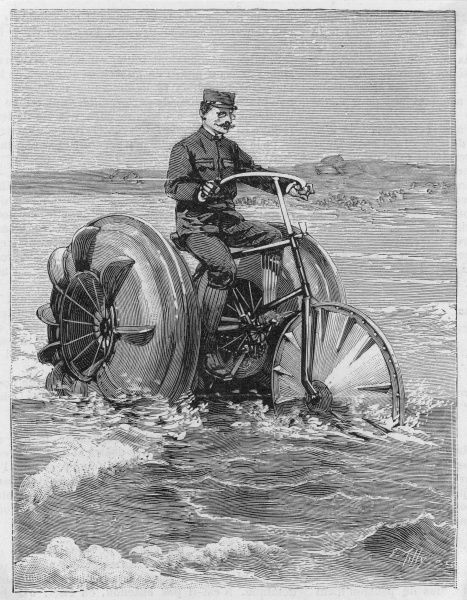The 'nautical velocipede' of Georg Pinkert, of Hamburg, Germany, operates on the paddle-wheel principle. It travels at 15 km/h on land, 12 km/h on water