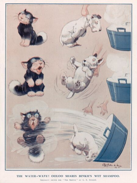 Illustration by G. E. Studdy showing a small dog being forced to have a bath, watched smugly by Ooloo the cat. Ooloo later gets a shock when the bath water spills all over him. George Ernest Studdy (1878-1948), was the creator of 'Bonzo&#39